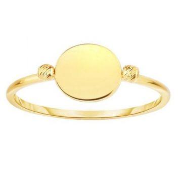 14k Yellow Gold Flat Bead Fashion Ring