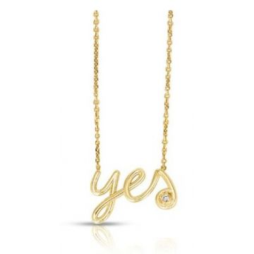 "14K Gold Diamond Say ""Yes"" Necklace"