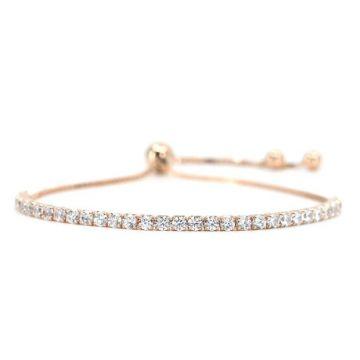 Rose Sterling Silver Diamond Coated CZ Bolo Bracelet