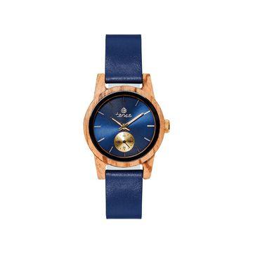 Small Leather Hampton Zebrawood/Blue