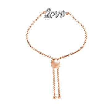 """Charles Garnier Friendship Bolo Bracelet """"LOVE"""" w/ 18k Rose Gold Finish"""