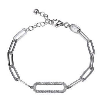 Charles Garnier 925 Paper Clip Bracelet with CZ Link-White
