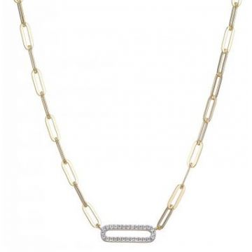 Paperclip Sterling Silver Necklace with Cz Link Center in Yellow