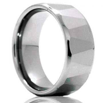 Beveled Edge With Alternative Angle Facets Gents Tungsten Wedding Band