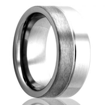 Gents Flat Half Polished & Half Satin Finish Tungsen Wedding Band