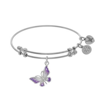Angelica Adjustable White Brass Butterfly Charm Enamel Bangle