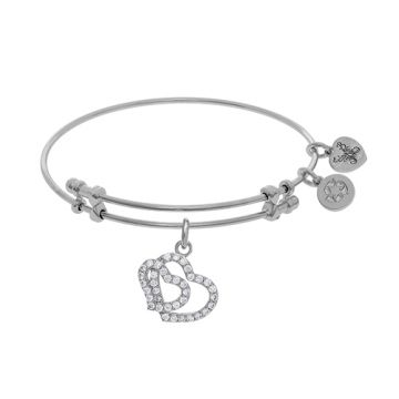 Angelica Adjustable White Brass Double Heart Charm Bangle