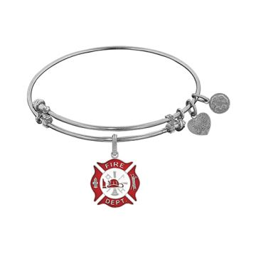 Angelica Adjustable White Brass Non-Antique Enamel Fire-Fighter Bangle