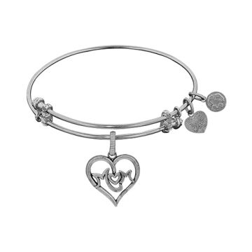 Angelica Adjustable White Brass Finish M-Heart-M Charm Bangle