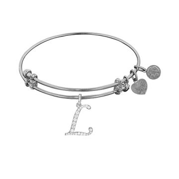 Angelica Adjustable White Brass Finish Initial L Charm for Bangle