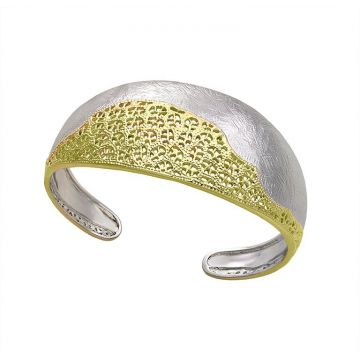 Jorge Revilla Treasure Yellow Bangle Rhodium Finish