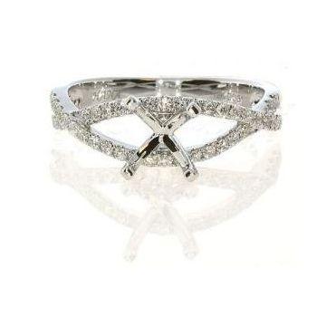 18k White Twist Diamond Engagement Ring