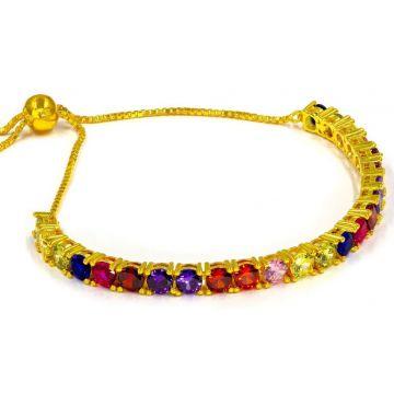 Multi Color Sterling Silver Bolo Bracelet Yellow