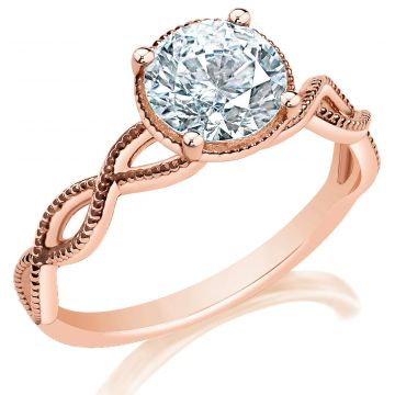 Classique 14k Rose Gold Twist Engagement Ring