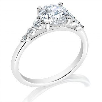 Classique 14k White Diamond Engagement Ring (.20ctw)