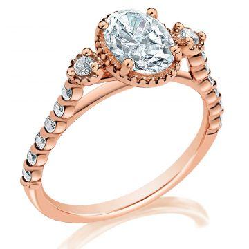 Classique 14k Rose Diamond Engagement Ring (.24ctw)