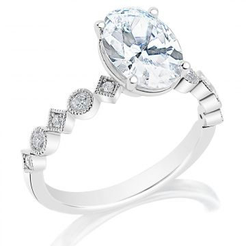 Classique 14k White Diamond Engagement Ring