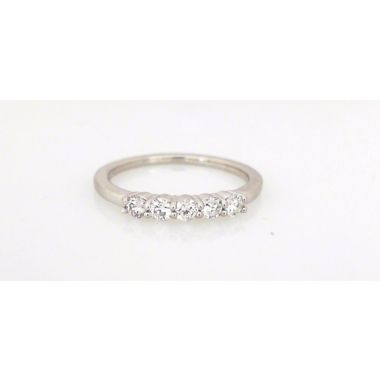 14k White 5-Stone Diamond Wedding Ring (.34ctw)