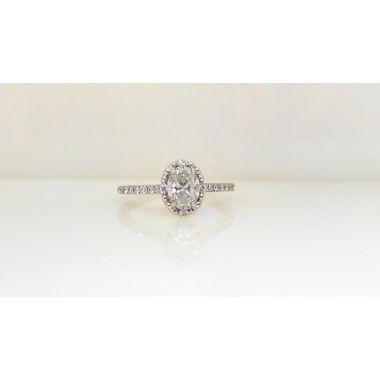 14k white gold diamond oval engagement ring