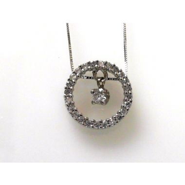 14k White Gold Diamond Circle Pendant with Dancing Diamond (.50ctw)