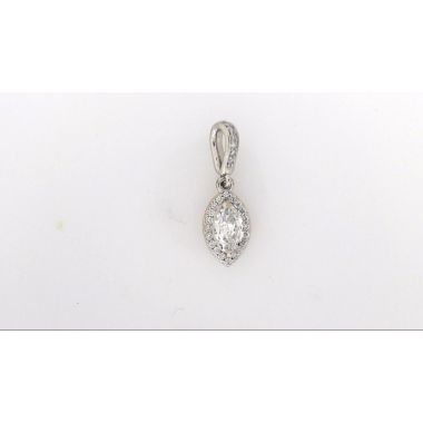 14k White Marquise Diamond Halo Pendant