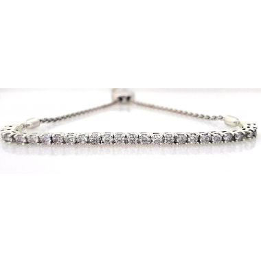 925 Sterling Silver 1.00 Carat Diamond Bolo Bracelet