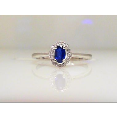 14k White Diamond Halo Sapphire Ring