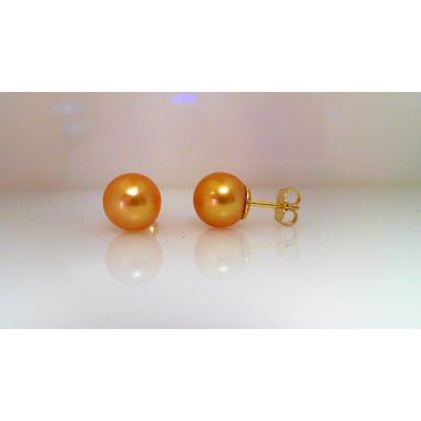 14k Yellow Gold South Sea Pearl Studs 9mm