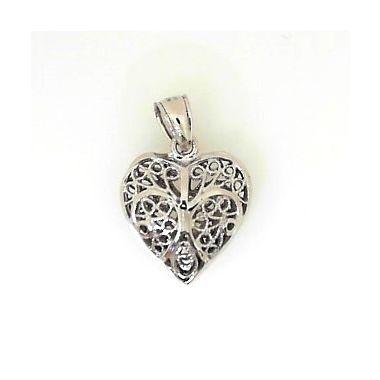 14k White Gold Filigree Heart Pendant
