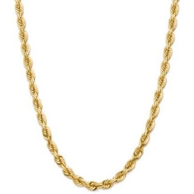 14k 7mm Solid Diamond Cut Rope Chain