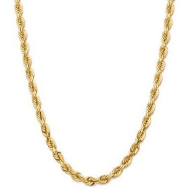 14k 7mm Solid Diamond Cut Rope Chain