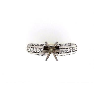 14k White Gold .60 Carat Diamond Engagement Ring Semi-Mount