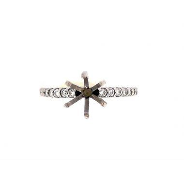 14k White 1/4 Carat Straight Diamond Engagement Ring Semi-Mount