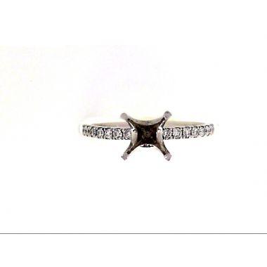 Straight 14k White Gold Diamond Engagement Ring Semi-Mount .23tw