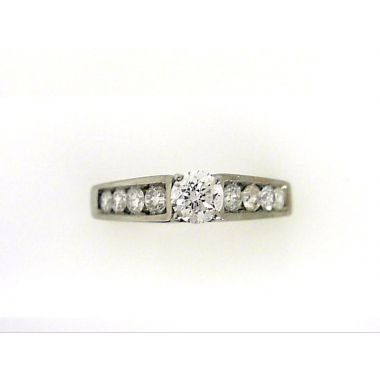 14k White 1/2 Carat Diamond Engagement Ring set with .35 Carat Round Center