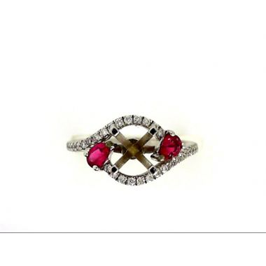 14k White Gold Ruby Accented Diamond Fashion Ring