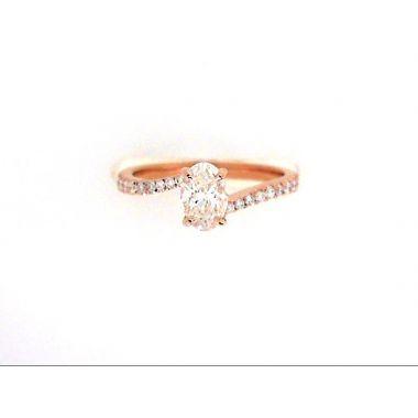 18k Rose Gold Oval Diamond Engagement Ring .83 Carat