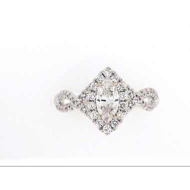 18k White Twist Diamond Engagement Ring With Marquise Center