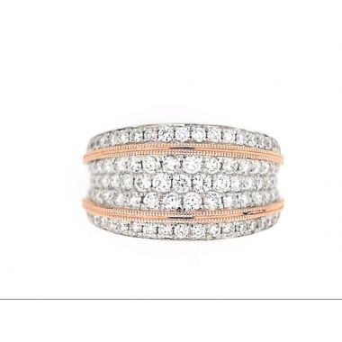 14k Two-Tone Rose/White Diamond Anniversary Ring (1.33ctw)