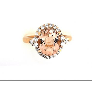 14k Rose 10x8 AA Oval Morganite Diamond Fashion Ring