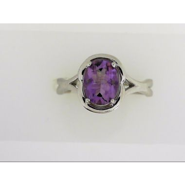 925 Sterling Silver Oval Amethyst Fashion Ring
