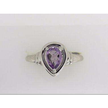 925 Sterling Silver Pear-Shape Amethyst Fashion Ring