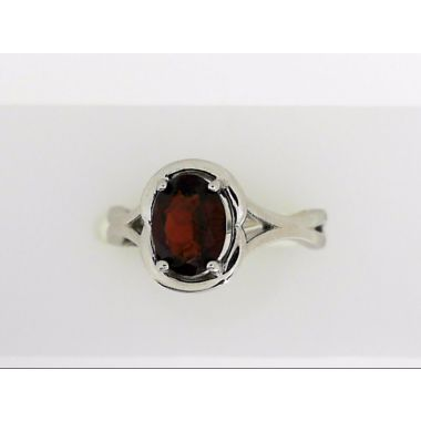 925 Sterling Silver Oval Garnet Fashion Ring