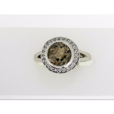 925 Sterling Silver Smokey Quartz Halo Fashion Ring