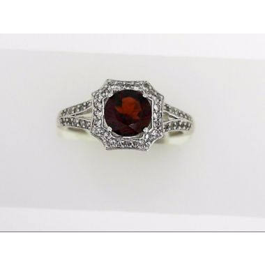 925 Sterling Silver Antique Halo Garnet Ring