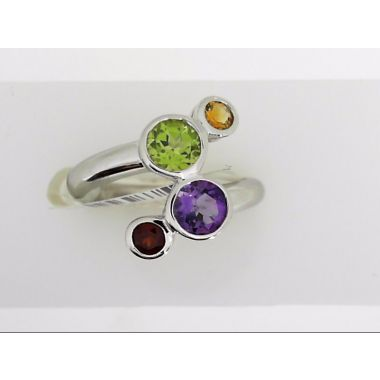 925 Sterling Silver Multi-Color Fashion Ring