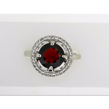 925 Sterling Silver Halo Garnet Fashion Ring
