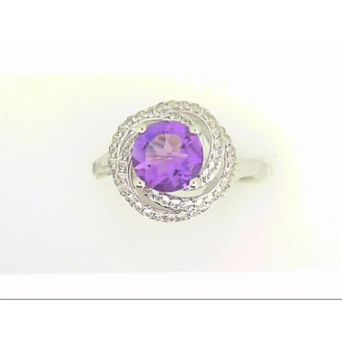 925 Sterling Silver Halo Amethyst Fashion Pendant
