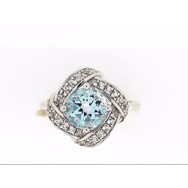 925 Sterling Silver Halo Blue Topaz Fashion Ring