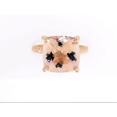 18k Rose Gold 11x11 Cushion Morganite Fashion Ring